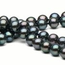 Black Double Strand Freshwater Pearl Necklace 6-7 mm