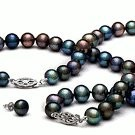 3-Piece Black Freshwater Pearl Set 18-7 Inch 6-7 mm