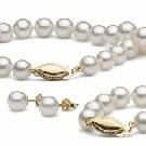3-Piece White Akoya Pearl Set 18-7 Inch 6.5-7 mm