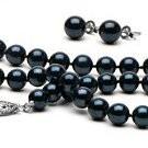 3-Piece Black Akoya Pearl Set 18-7 Inch 6-6.5 mm AA+