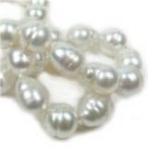 "18"" White Silver Baroque South Sea Pearl Necklace 9.25-11.4 mm"