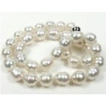 "18"" White Silver Baroque South Sea Pearl Necklace 9.6-11.2 mm"