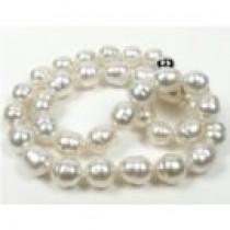 "18"" White Silver Baroque South Sea Pearl Necklace 9.6-11.2 mm"