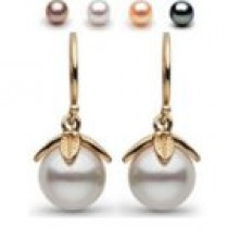 14k Gold 8-9 mm AAA Freshwater Pearl Dangle Earrings
