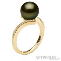 KARMA 18k Gold Black Tahitian 9-10 mm AAA Pearl Ring