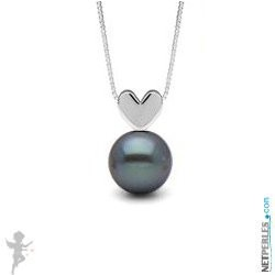 Black Freshwater Pearl Pendant - Sterling Silver