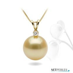 Diamond and Golden South Sea Pearl Pendant 14k Gold
